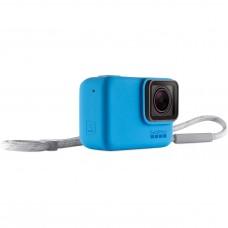 GoPro Silikon Kılıf + Bileklik/Boyunluk Sleeve + Lanyard Mavi