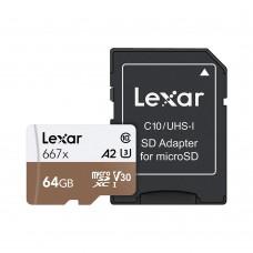 Lexar 64GB Professional 667x microSDXC UHS-I U3 A2